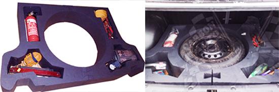 Установка в багажник фальшпола с местом под колесо